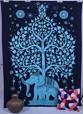 Elephant Tree Of Life Psychedelic Tapestry Indian Cotton Tapestry Wall Hanging
