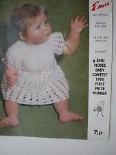 Emu  baby dress vintage  crochet  pattern size 19 - 21 inch chest