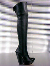 MORI ITALY WEDGES NEW OVERKNEE HEELS BOOTS STIEFEL STIVALI LEATHER BLACK NERO 36