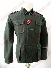 WWII German Elite M42 ReedGreen HBT Field Tunic Size XL (with full insignias)