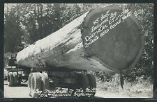 CA Redwood Highway RPPC 1940's REDWOOD LOG on LOGGING TRUCK to MILL by Art-Ray