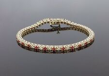 14 KARAT YELLOW GOLD 2.40CTW DIAMOND AND RUBY TENNIS LINE BRACELET MSRP $2,000