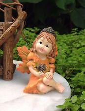 Miniature FAIRY Garden HALLOWEEN Fall THANKSGIVING Fairy Girl Figurine w Acorns