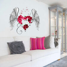 Angel wings Love Heart Mural Wall Sticker Decals RemovableVinyl Art Home Decor