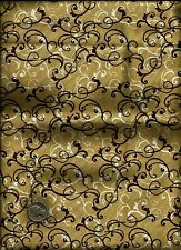 Nice Scroll Floral Print ecru/off white and brown on tan Fabric by Jo-Ann Stores