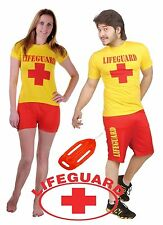 Adults Mens Womens Life Guard Miami Beach Rescue Team Outfit Shorts and Top