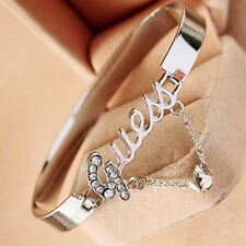 Guess Brand Signature Fashion Jewelry Gift Silver Crystal Bangle  Chain Bracelet
