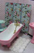 Miniature Dollhouse Furniture Biz Floral Aqua Room Divider 1 in scale