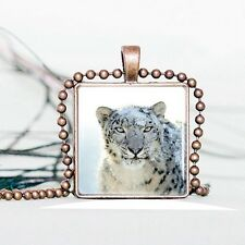 Vintage Snow Leopard Cabochon Tibetan Bronze Glass Chain Pendant Necklace