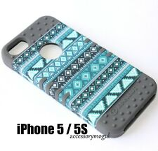 For iPhone SE 5S HARD & SOFT RUBBER HYBRID ARMOR SKIN CASE TEAL BLUE GREY AZTEC