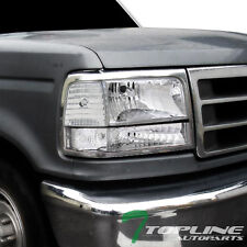 CRYSTAL CHROME CLEAR HEAD LIGHTS LAMPS LEFT+RIGHT KS 92-96 FORD F150 F250 BRONCO