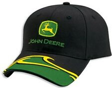 NEW John Deere Black Twill JD Cap Hat Green and Yellow Accent on Visor LP41870