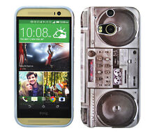 Schutzhülle f HTC One M8 Tasche Case Etui Cover Ghettoblaster Radio retro