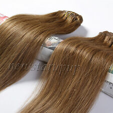 7PCS FULL HEAD SET CLIP IN REMY REAL HUMAN HAIR EXTENSIONS DE CHEVEUX 15COLORS