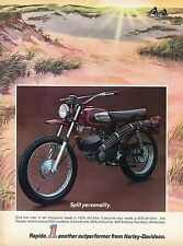 1972 AMF Harley Davidson Rapido On/Off Road Motorcycle Print Ad.
