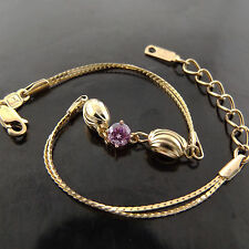 A635 GENUINE REAL 18K YELLOW G/F GOLD LADIES PINK SAPPHIRE BEAD BRACELET BANGLE