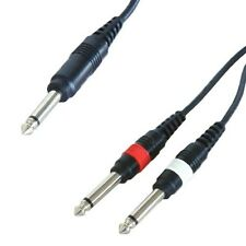 1.2m 6.35mm MONO Jack Y Splitter Cable Lead 1 to 2 x Plug Guitar Amp 6.3mm 1/4""