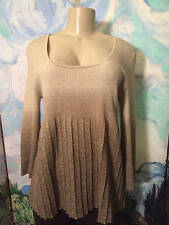 GRACE ELEMENTS L BEIGE METALLIC OMBRE ROUND NECK 3/4 SLEEVE PLEATED SWEATER TOP