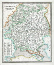 RUSSIA, POLAND, ESTONIA, LATVIA, LITHUANIA, Teesdale original antique map 1841