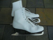 Dominion Ladies Figure Skates, White, Size 5-1/2, Pre-Owned w/Factory Box