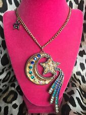 Betsey Johnson Heavens to Betsey HUGE Shooting Star Moon Lucite Glitter Necklace