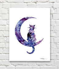 Black Cat Moon Abstract Watercolor Painting Art Print by Artist DJ Rogers