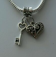Key Heart Dangle Bead For European Style Charm Bracelet Silver More options.