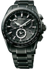 New Seiko Astron Solar GPS Dual-Time Black IP Titanium Men's Watch SSE049
