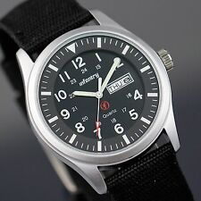 INFANTRY Mens Quartz Wrist Watch Military Army Black Nylon Night Vision Date Day