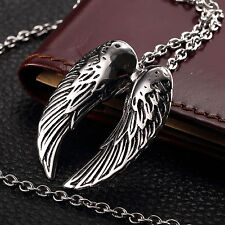 AgentX Cool Men's Pendant Rock&Roll Wing Stainless Steel Necklace Long Jewelry