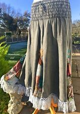 DELICIOUS NEW BLACK GREY SKIRT SIZE 10 12 14 BOHO HIPPIE LONG DRESS PAGAN GYPSY