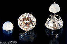 New 14K  Real White Gold 9mm Round Cubic Zirconia CZ Piercing Stud Earrings