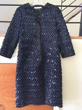 Couture Oscar De La Renta navy / blk Sequin Coat Duster Jacket S, 2016 trend