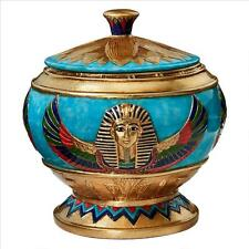 Pharaoh Bas Relief King Tut Egyptian Style Offering Centerpiece Urn Vase Vessel