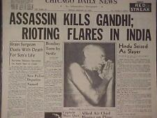VINTAGE NEWSPAPER HEADLINE~CRIME HINDU ASSASSIN KILLS GANDHI GUN SHOT DEAD INDIA