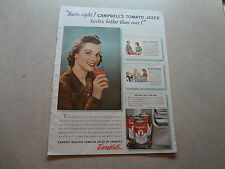 """1940 Campbell's Tomato Juice Vintage Magazine Ad """"...tastes betther than ever!"""""""