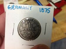 1875-A Germany Empire 1 Mark 0.900 SILVER COIN - 90% Silver!! ORIGINAL UNCLEANED