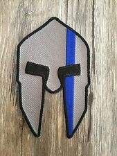 Gray Spartan Helmet Thin Blue Line Patch