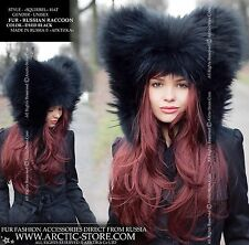 NEW FASHION STYLE BLACK RUSSIAN RACCOON FUR HOOD HAT - EXCLUSIVE DESIGN