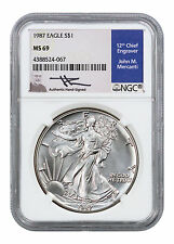 1987 American Silver Eagle NGC MS69 (Mercanti Signed Label) SKU40878