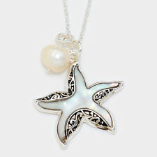 Starfish Necklace Starfish Beach Surf SILVER MOTHER of PEARL Filigree Jewelry