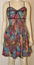 NWT $65 UNIQUE DRESS Jack by BB Dakota Artsy Abstract Blue Steel Size Large