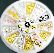 50 pcs Gold Silver Nail Art TipDecoration Shell Starfish SeahorseTurtle+ Wheel