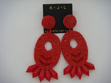 Kenneth Jay Lane Seed bead Gypsy Coral Red Oval Drop Earrings Post New Sold out