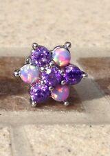 Purple Opal & CZ Stone Flower Cluster Labret Tragus Helix Cartilage Monroe Stud