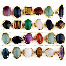 Nice Wholesale Jewerly Lots 5pcs Vintage Gold Natural Stone Women Ring Bulk