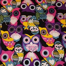 Sweatshirt knit jersey multicoloured cotton owls children's fabric brushed back
