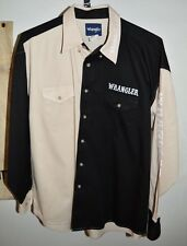 Wrangler Men's Long Sleeve Beige Tan Black Embroidered Shirt Size XL
