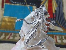lARGE DIAMOND CUT STERLING SILVER SWIMMING MERMAID PENDANT