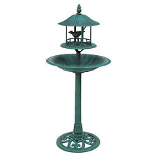 BIRD BATH & FEEDER ORNAMENTAL HOTEL GARDEN BIRDS TABLE STATION GREEN FEEDING NEW